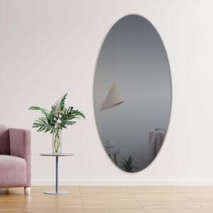 Gråt ovalt spejl