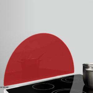 Halv cirkel glas stænkplade rød