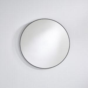 Rundt spejl med sort ramme