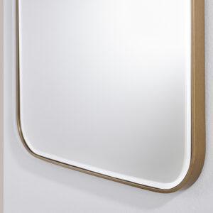 Entrée spejl med afrundede hjørner med bronze ramme