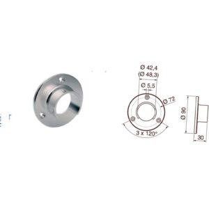 Vægflange Ø42 rustfrit stål specifikation