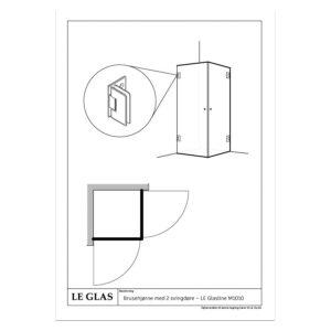 Brusehjørne med 2 svingdøre – LE Glasline M1010