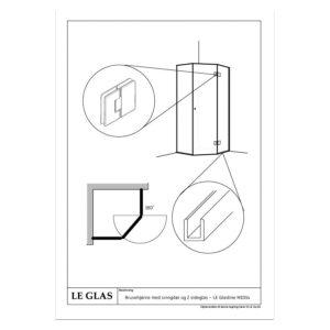 Brusehjørne med svingdør og 2 sideglas – LE Glasline M1014