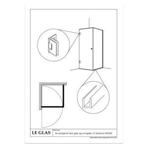 Brusehjørne fast glas og svingdør – LE Glasline M1020