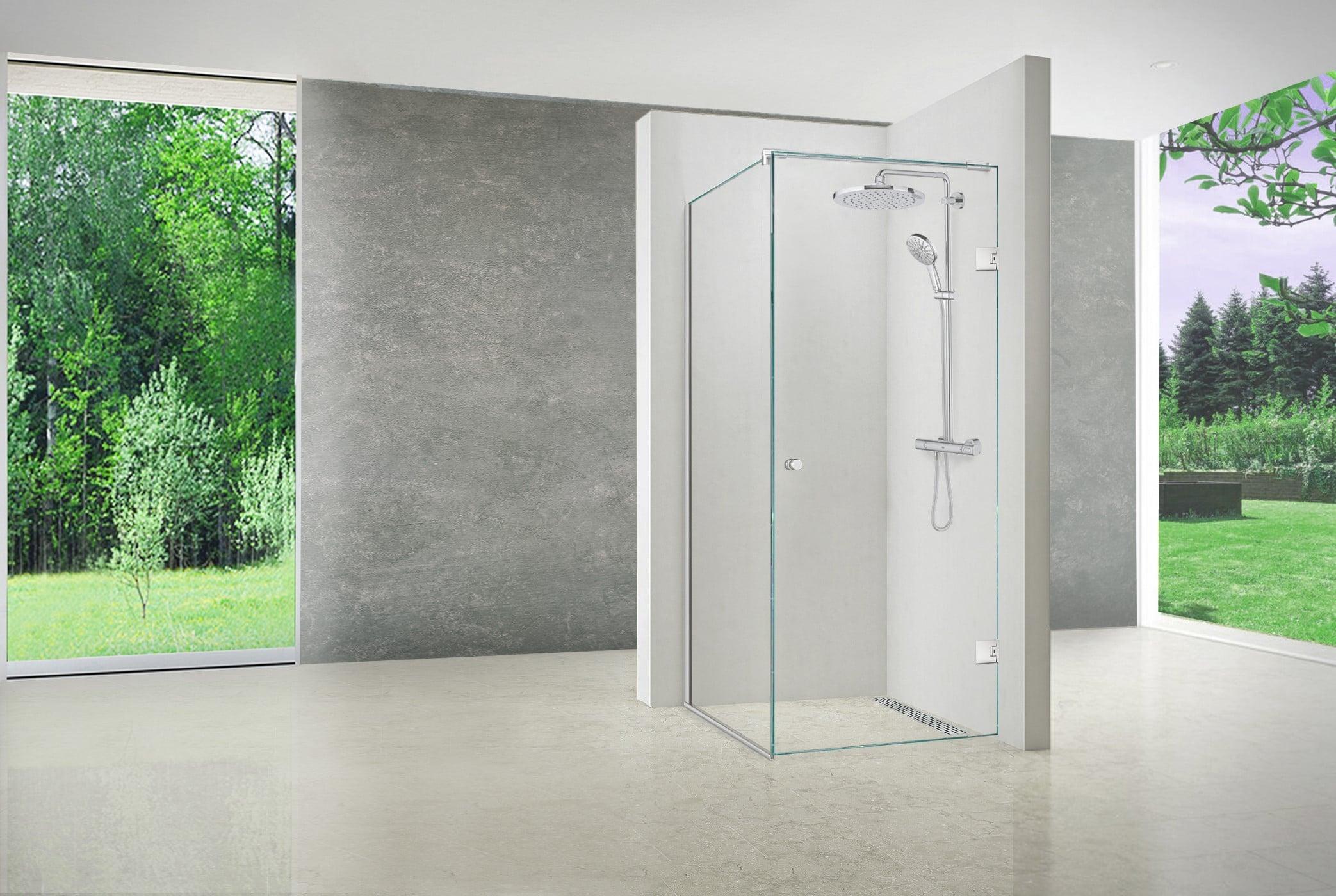 Brusehjørne fast glas med dør