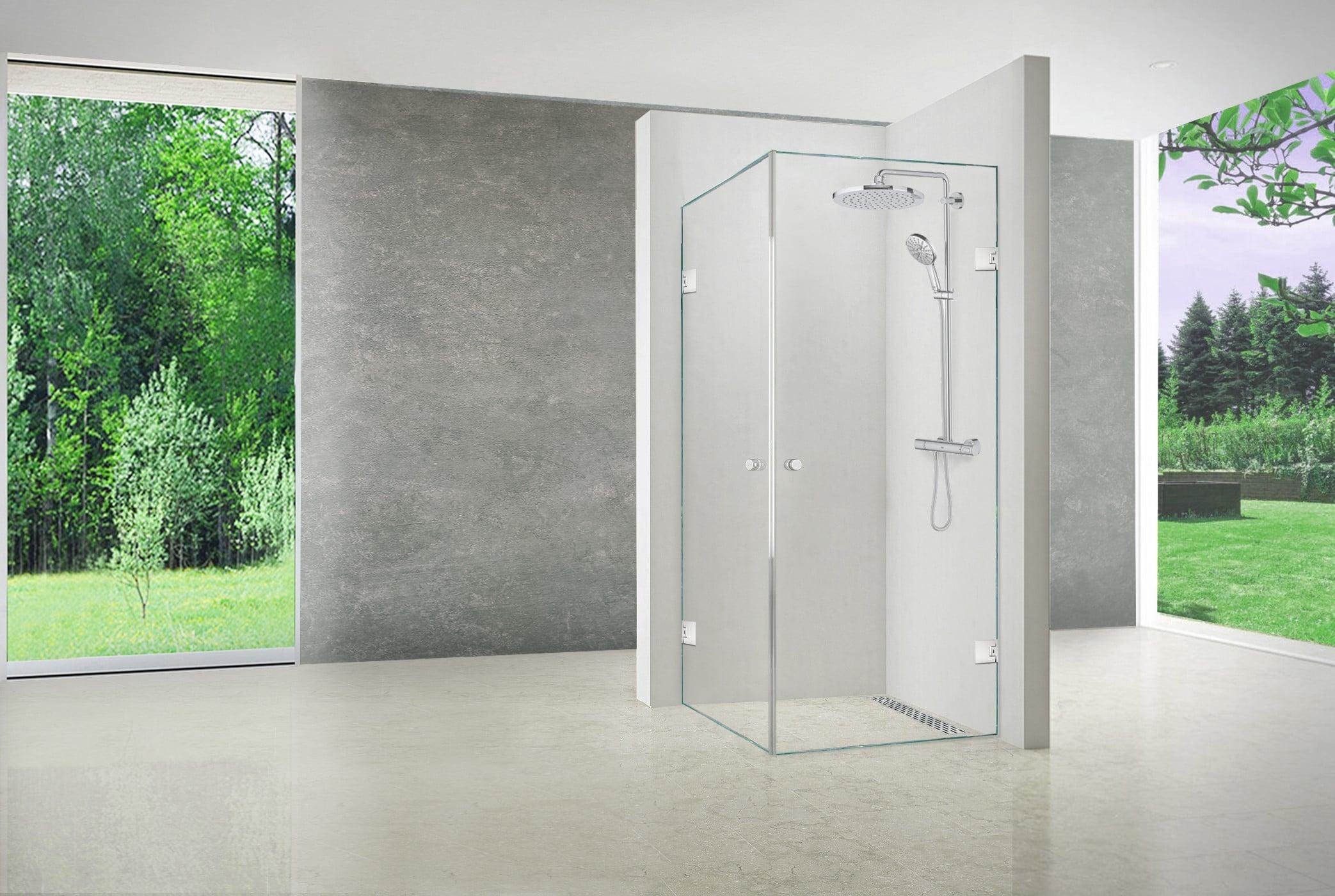 Brusehjørne med to døre fra LE Glas