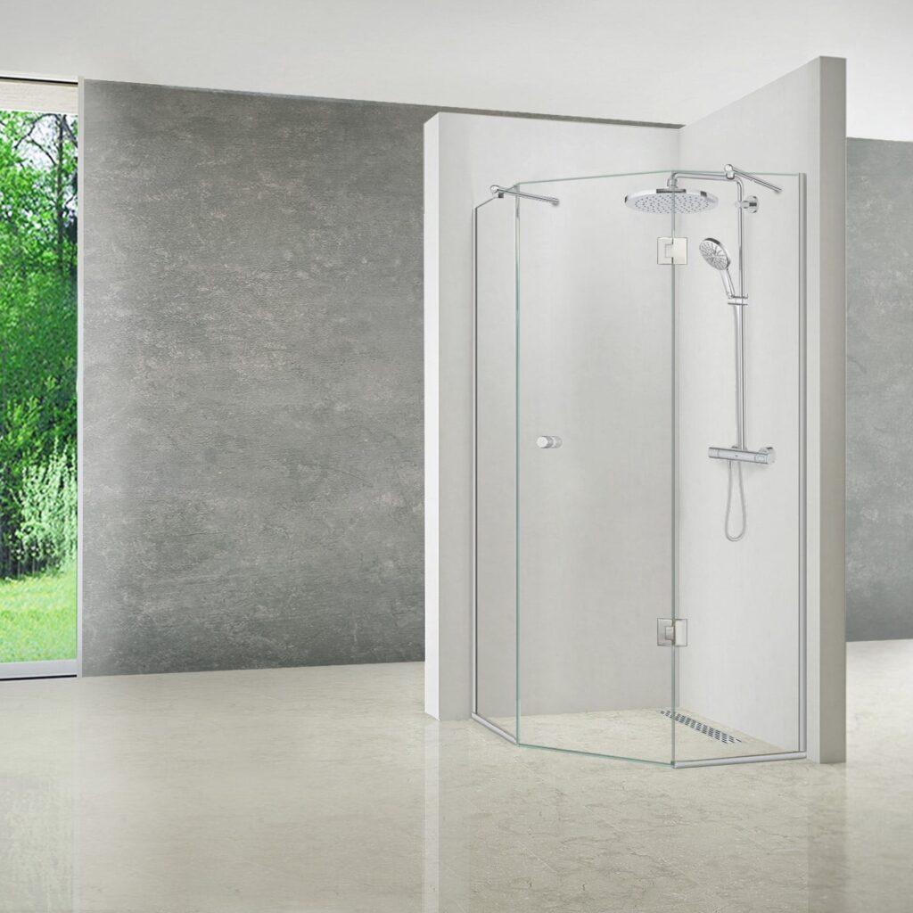 Brusehjørne med dør og to sideglas